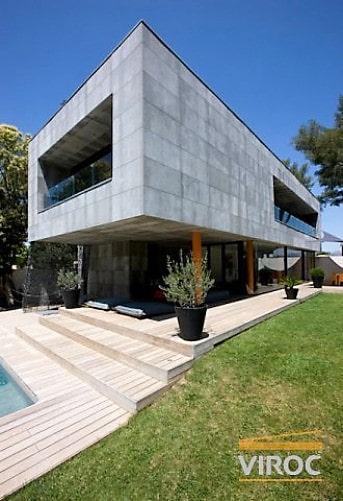Bardage Panneaux bois-ciment viroc maison architecte
